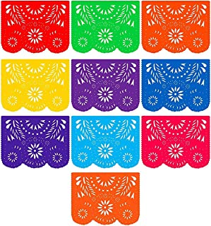 Fiesta Banner Plastic Papel Picado (2 Pack): 2 x 10 Large Multi-Colored Panels 16 feet Long for Mexican Themed Party Supplies for Festivals, Dia De Muertos, Coco Theme, Flower Decor by Mission Fiesta
