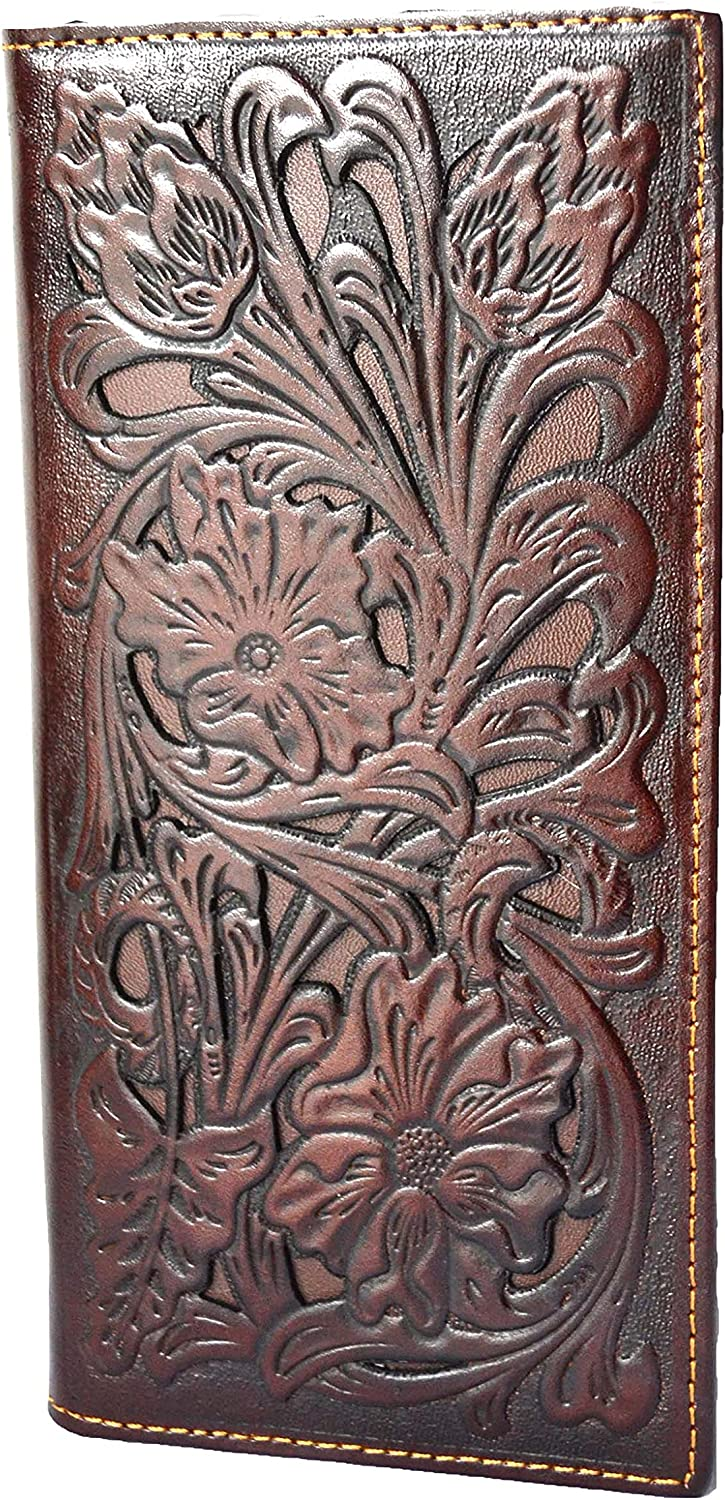 men floral tooled checkbook bi-fold leather long wallet western style (coffee tan)