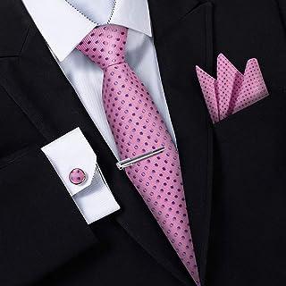 5c249f379ee17 Jorlyen Homme Cravate - Ensemble Cravate en Soie avec Pince à Cravate Argent,  Boutons de