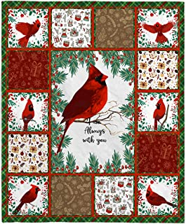 THITHO STORE Cardinal Bird Blanket - Red Birds I Am Always with You Fleece Blanket One Size/White (50''x60'')