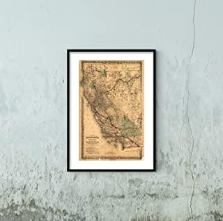 California|1876 Detailed map of California, Including Nevada. Shows Relief by hachures, Drainage, Cities and Towns, with Major Railroads Distinguished by Color|16x24 Wall Map
