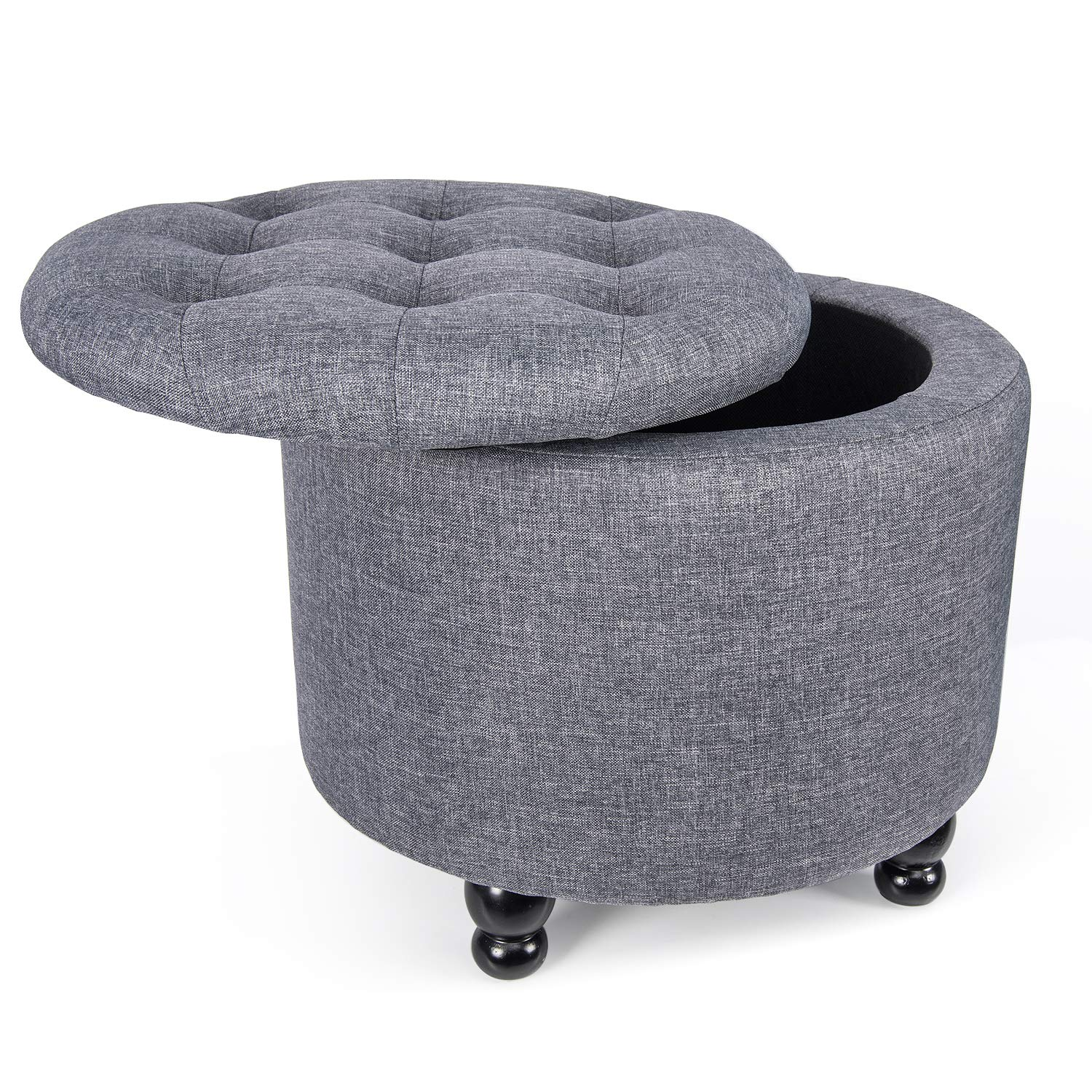 Grey YOURLITEAMZ Modern Round Storage Ottoman Fabric Cushion Button Tufted Storage Footstool with Removable Lid