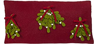 "ARCADIA HOME Hand Felted Wool –Mistletoe Christmas Pillow Cover, 12x24"", Red"
