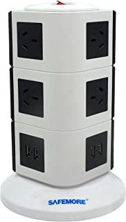 SAFEMORE Origin 3L+ - USB Power Strip 10-Outlet Charging Station with 4 Smart USB Ports and 2-Metres Power Cord (White/Black)