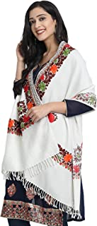 Kashmiri Winter Women's Embroidered Woolen Shawl/Stole Wrap by Zamour