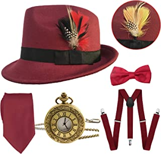 1920s Mens Gatsby Costume Accessories,Manhattan Fedora Hat w/Feather,Vintage Pocket Watch,Suspenders,Pre Tied Bow Tie,Tie