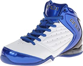AND 1 MASTER 2 Mid Basketball Shoe (Little Kid/Big Kid), White/Royal/Black, 4.5 M US Big Kid