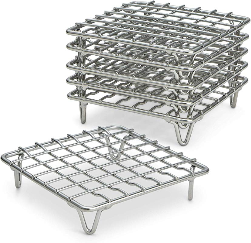 ARROW EAVES 4 Mini Stainless Steel Cooking And Cooling Racks Set Of 6 Small Metal Trivet Display Stand For Round Pots Pans Hot Dishes Wire Coaster Kitchen Riser Steamer Baking Racks