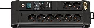 Brennenstuhl Premium-Line, Steckdosenleiste 8-fach mit Überspannungsschutz 3m Kabel und mit Schalter - inkl. auswechselbarer SicherungFarbe: schwarz