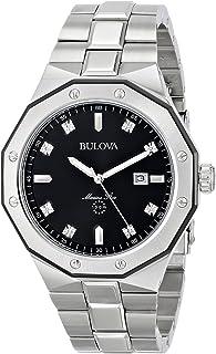 Bulova Men's Silver Diamond Dial Watch 98D103