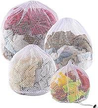 PELLUM 4 Pack Mesh Laundry Bags with Drawstring, Durable Sturdy Mesh Wash Bags,Machine Washable, Heavy Duty Drawstring Bag...