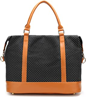 Women Ladies Canvas Weekender Bag Overnight Carry-on Tote Duffel in Trolley Handle (Polka Dot Black)