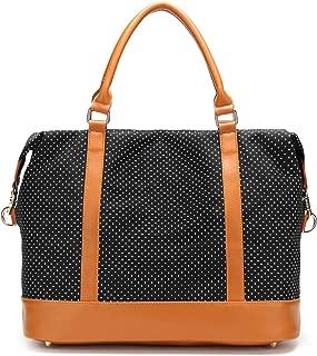 Women Ladies Canvas Weekender Bag Overnight Carry-on Tote Duffel in Trolley Handle (Polka Dot Black)