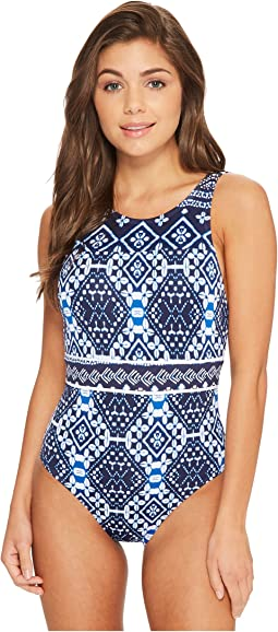 Indigo Cowrie High-Neck One-Piece Swimsuit