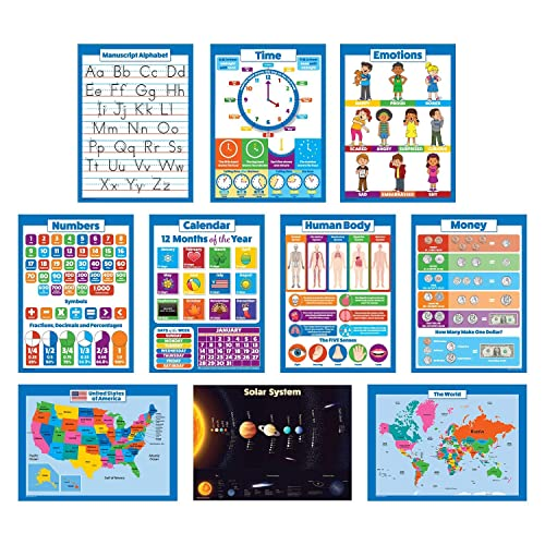 10 Educational Wall Posters for Kids - ABC - Alphabet, Solar System, USA & World Map, Numbers 1-100 +, Days of The Week, Months of The Year, Emotions, Time, Money | Learning Charts (18x24 - Paper)