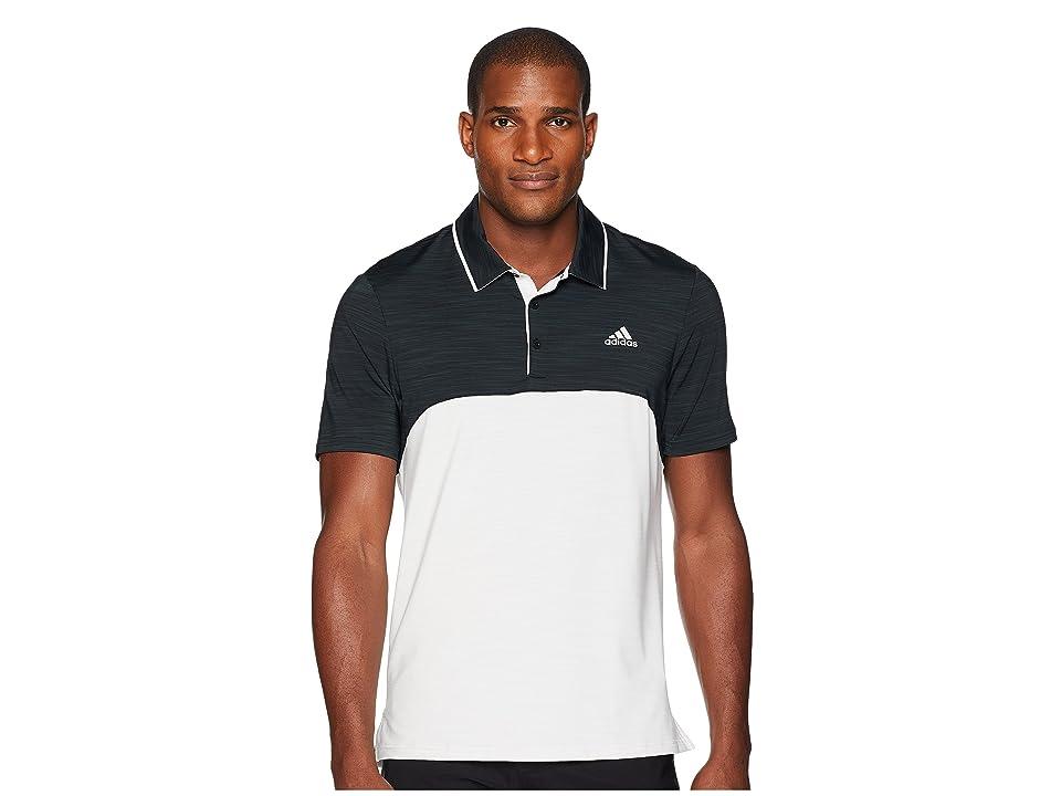 adidas Golf Ultimate Heather Blocked Polo (Black Heather/Grey One Heather) Men