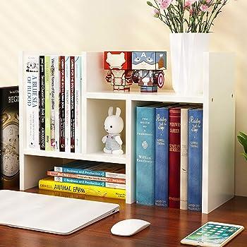 Office Desktop Bookshelf Adjustable Wood Display Shelf Desktop Organizer Office Storage Rack Countertop Bookcase Office Supplies Desk Organizer Accessories (White)
