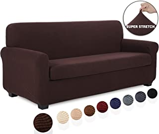 TIANSHU 2 Piece Sofa Slipcover, Stretch 3 Cushion Couch Cover for Sofa, Stylish Jacquard Furniture Covers (Sofa, Chocolate)