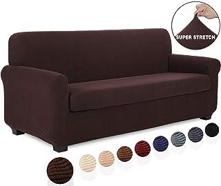 TIANSHU 2 Piece Sofa Slipcover, Stretch 3 Cushion Couch Cover for Sofa, Stylish Jacquard Furniture Covers (Sofa, Chocolate)