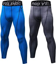 SILKWORLD Men's 2 Pack Compression Pants Baselayer Cool Dry Sports Tights LeggingsBlueGrayUS M