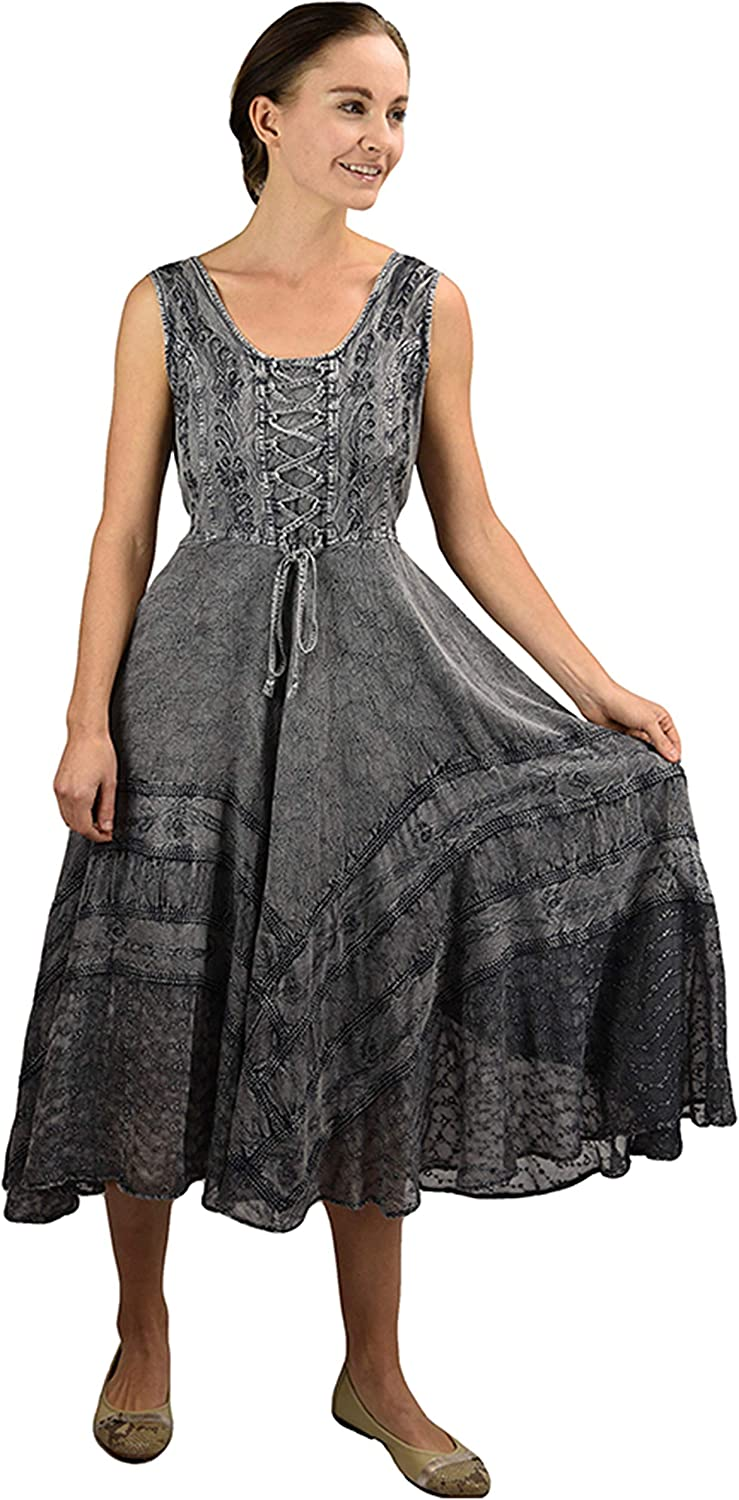 Agan Traders Women's Gothic Corset Smocked Sleveless Embroidered Twirl Calf Dress