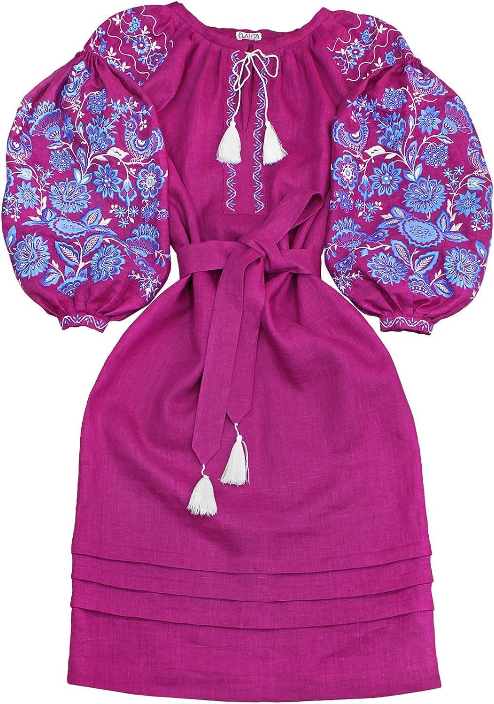 Plahta Embroidered Linen Vyshyvanka Dress The Tree of Life bluee
