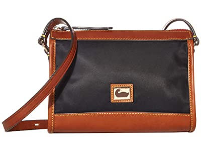 Dooney & Bourke Camden Zip Crossbody (Black/Dark Chocolate Trim) Cross Body Handbags