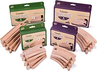 Conductor Carl Value Bundle of 4 Wooden Train Track Booster Sets | Deluxe Train Track Sets (16 pcs.) | Compatible with Major Brands | Classic Hobby Toy