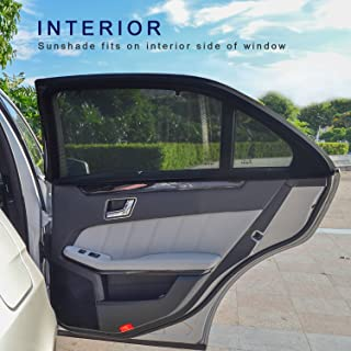 TFY Universal Car Side Window Sun Shade - Protects Your Kids from Sun Burn - Single Layer Design - Maximum Visibility - Fit Most of Ford, Audi, BMW, Honda, Nissan - 2 Pieces (Contoured Window)
