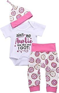 YOUNGER TREE 3Pcs Newborn Baby Auntie Letter Print Short Sleeve Romper + Doughnut Pants + Hats Summer Clothing Set