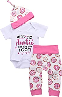 3Pcs Newborn Baby Auntie Letter Print Short Sleeve Romper + Doughnut Pants + Hats Summer Clothing Set