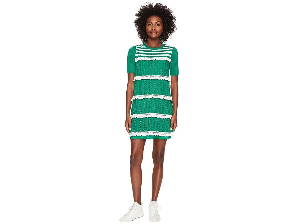RED VALENTINO Crochet Knit Dress (Green/Ivory) Women