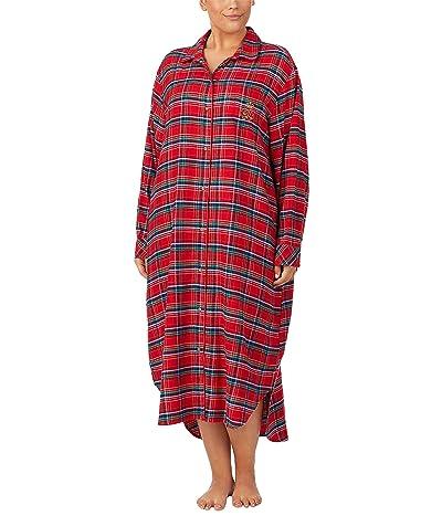 LAUREN Ralph Lauren Plus Brushed Twill Long Sleeve Notch Collar Ballet Sleepshirt (Red Plaid) Women