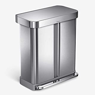 simplehuman 58 Liter Rectangular Hands-Free Dual Compartment Recycling Kitchen Step Rubbish Bin with Soft-Close Lid, Brush...