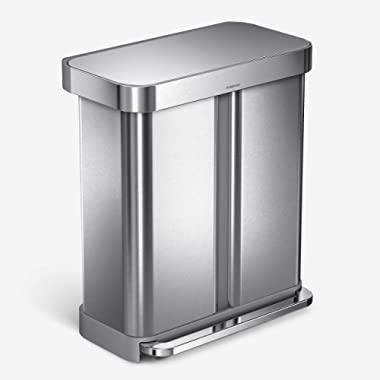 simplehuman 58 Liter Rectangular Hands-Free Dual Compartment Recycling Kitchen Step Trash Can with Soft-Close Lid, Brushed Stainless Steel