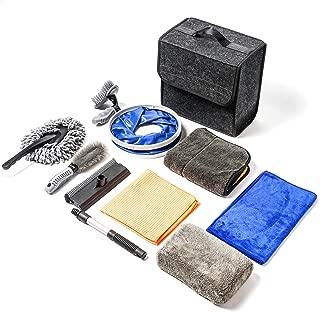 OKAYC Car Cleaning Tools Kit 10 Pcs Car Wash Tools Kit - Premium Chenille Microfiber Wash Mitt - wash Sponge - Tire Brush - Window Water Blade Brush Folding Bucket with Car Boot Organiser