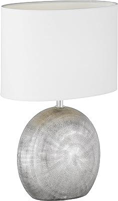 WOFI 845601706000 Lampe de Table, Céramique, E14, 40 W, Silber, 24 x 17 x 37 cm