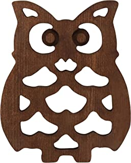 The Mammoth Design Owl Trivets for Hot Dishes, Perfect Owl Gift, Decorative Wooden Trivet Mat Hot Pot Holders Pads for Rustic Home Kitchen Counter or Dining Table