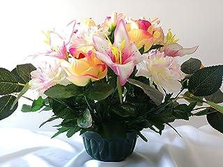 roselynexpress Composition de Fleurs Artificielles, Lesté Ciment pour Une Très Bonne Tenue à L' extérieur. Réalisé par Nos...