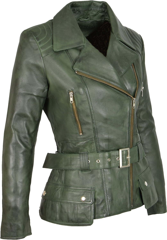 A1 FASHION GOODS Womens Biker Jacket Green Leather Designer Hip Length Coat Coco