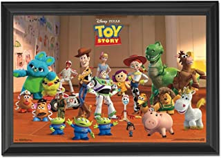 Disney Pixar Toy Story Wall Art Decor Framed Print | 24x36 Premium (Canvas/Painting Like) Textured Poster | Buzz Lightyear, Woody & Potato Head Toy Figures | Memorabilia Gifts for Guys & Girls Bedroom