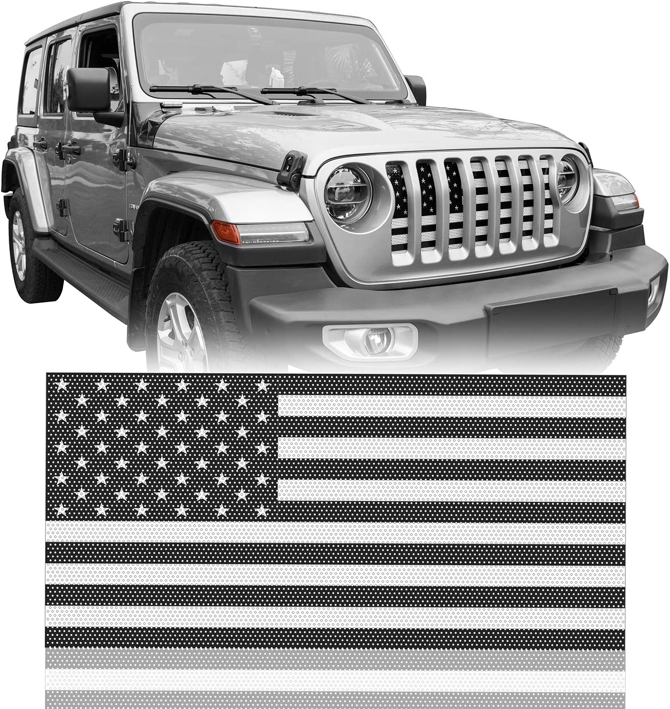 u-Box Front Grille Insert Black America Flag White Mesh Fort Worth Mall Limited price sale