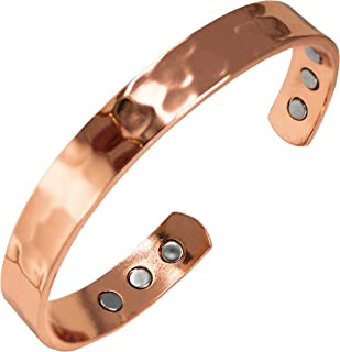 Pure Copper Hammered Magnetic Healing Bracelet for Arthritis, Migraine, and Joint Pain Relief – Adustable Sizing - Earth Therapy