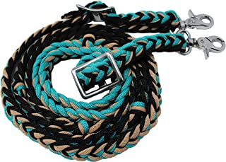 Horse Roping Knotted Tack Western Barrel Reins Cotton Braided 607238