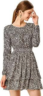 Women's Leopard Print Long Sleeve Smock Layered Ruffle Hem Dress