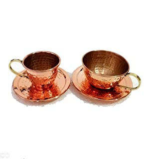 Imperial Art Hand Hammered 100% Pure Copper Ayurveda Health Healing Tea Cup Set Antique Tea Serving Cups With Brass handle Tableware With Free Copper Cleaning Powder