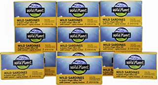 Wild Planet Wild Sardines in Extra Virgin Olive Oil With Lemon, Lightly Smoked, Keto and Paleo, 4.4 Ounce (Pack of 12)