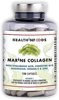 Colágeno Marino Hidrolizado+Ácido Hialurónico+Coenzima Q10+ Magnesio+Vitamina C y Zinc|Suplemento Articulaciones,Piel,Huesos. 100 Cápsulas Veganas|Alta Concentración|Fabricado en España|Healthinfoods