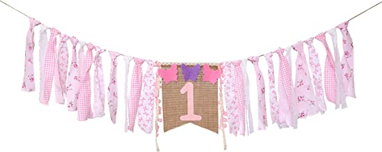 Butterfly High Chair Banner for 1st Birthday - First Birthday Decoration for Baby's,The First Gift for The Girl's Birthday Party,Photo Booth Props for Pink,Baby Birthday Souvenir Gifts