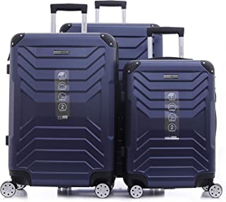 PARAJOHN Helium 3-Piece Hard Trolley Luggage Set Dark Blue
